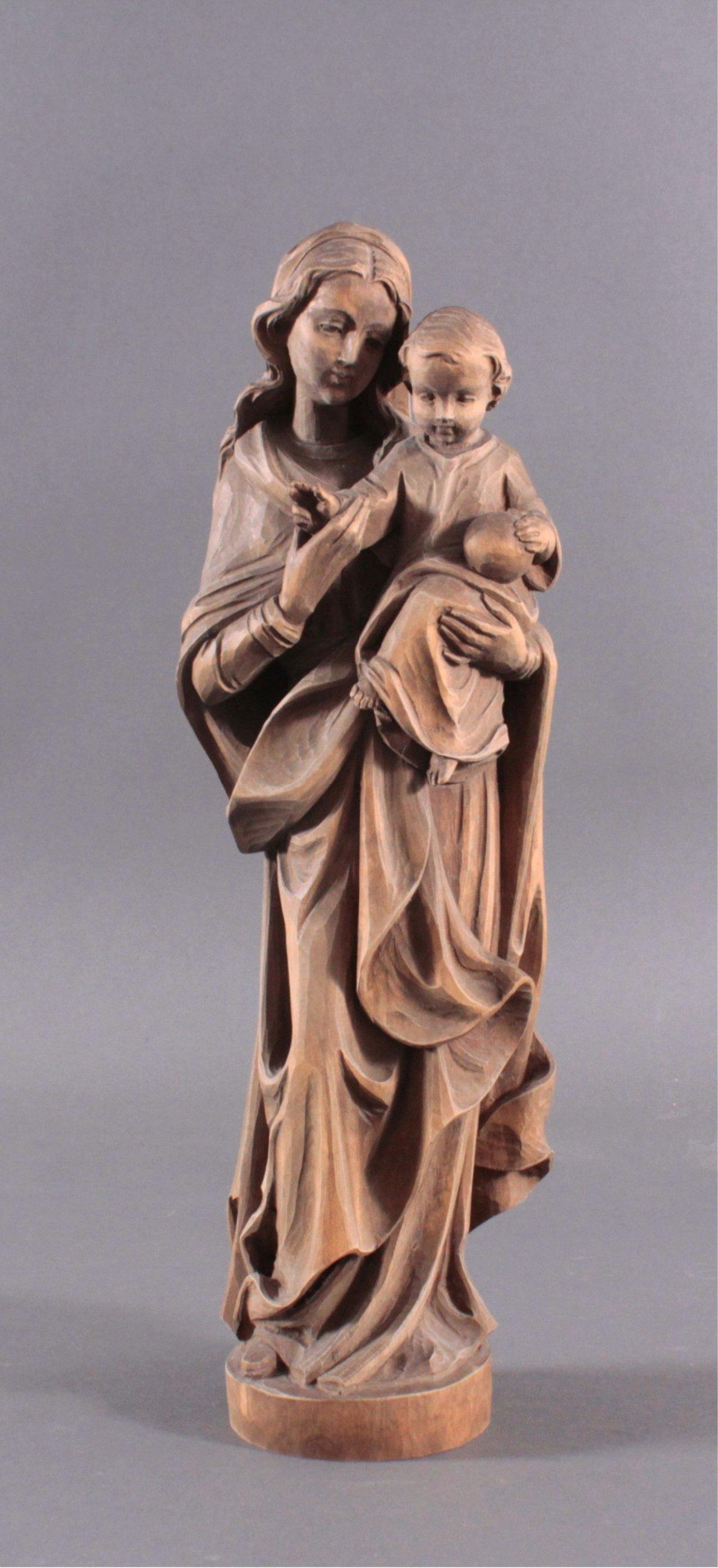 Holz Skulptur Madonna mit Kind