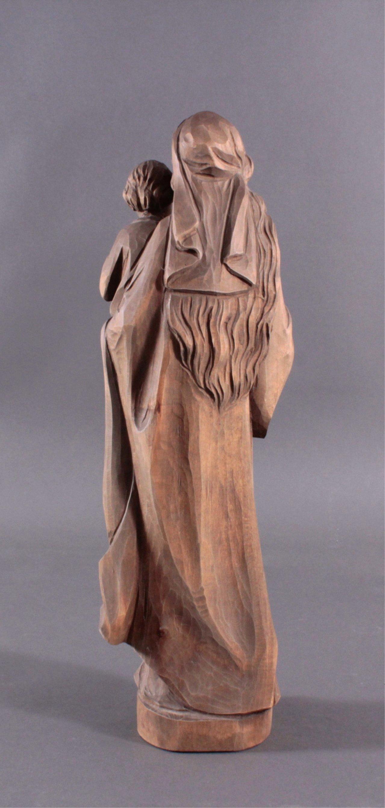 Holz Skulptur Madonna mit Kind-2