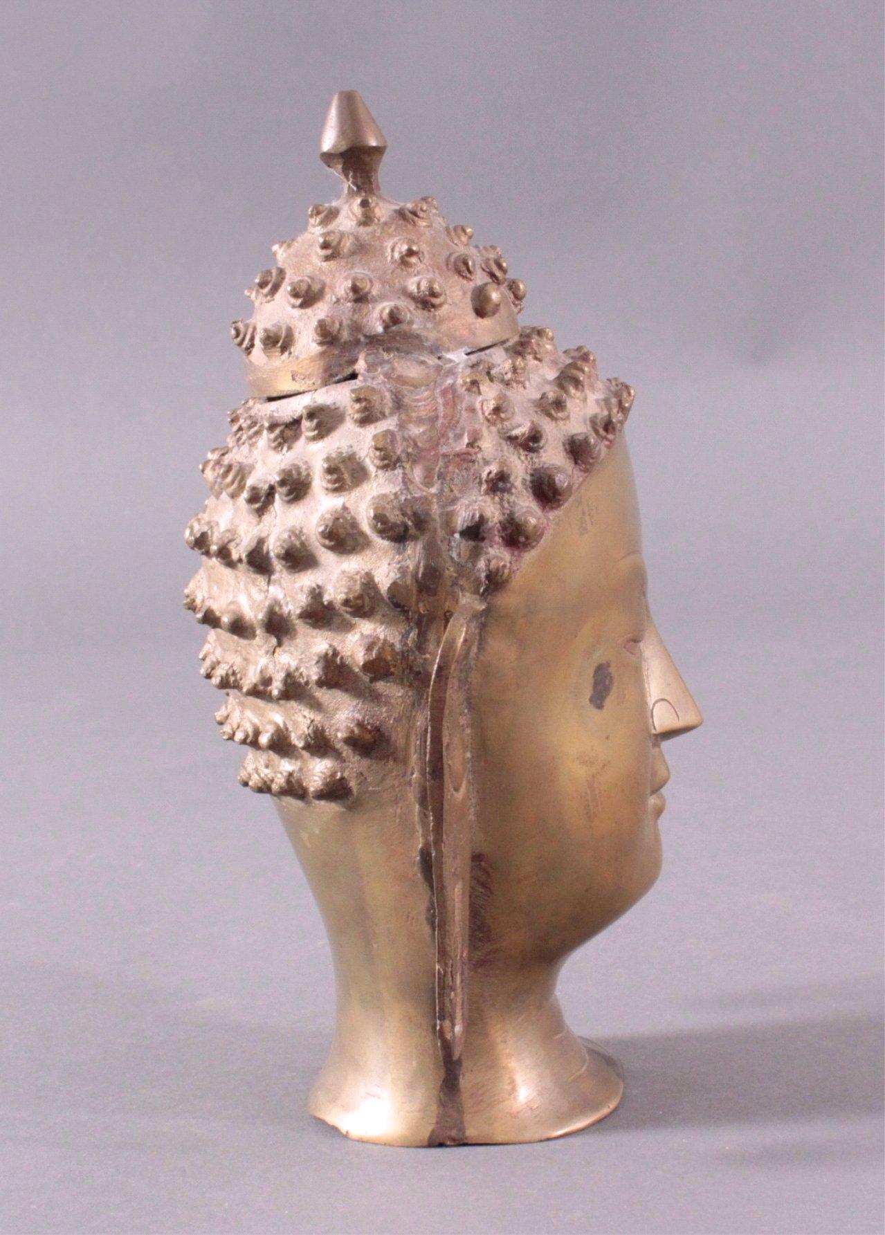 Buddha-Kopf, Bronze Thailand, 20. Jh. oder früher-1