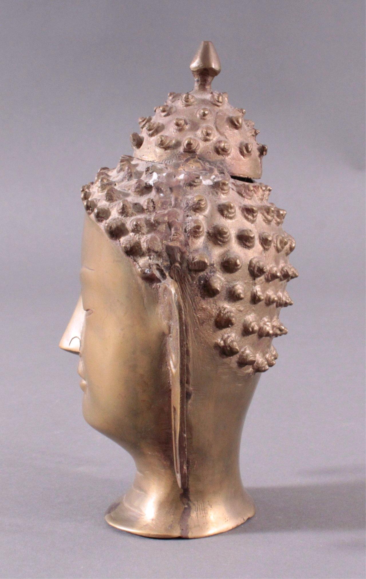 Buddha-Kopf, Bronze Thailand, 20. Jh. oder früher-3