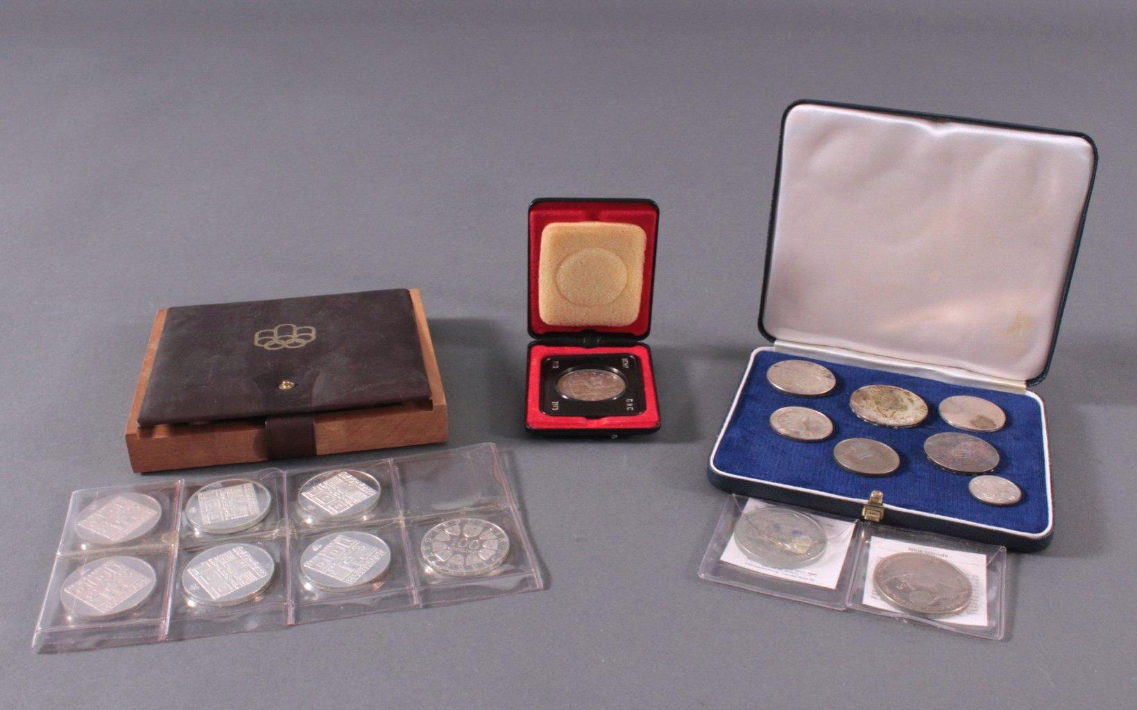 Konvolut Münzen dabei auch Silber, Thema Olympia