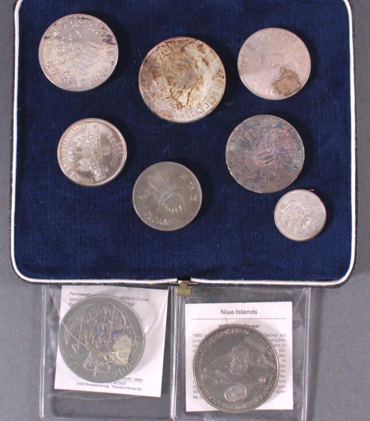 Konvolut Münzen dabei auch Silber, Thema Olympia-2