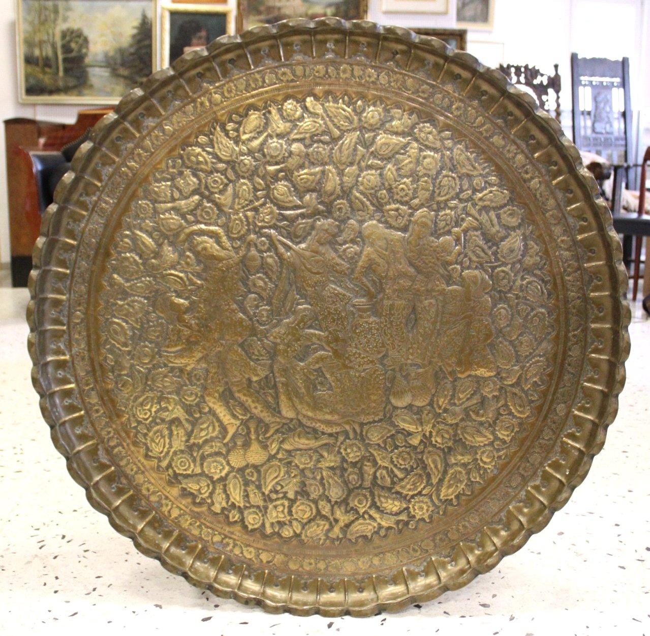 Antiker Riesiger Teekessel und Tablett, Persien um 1970-1