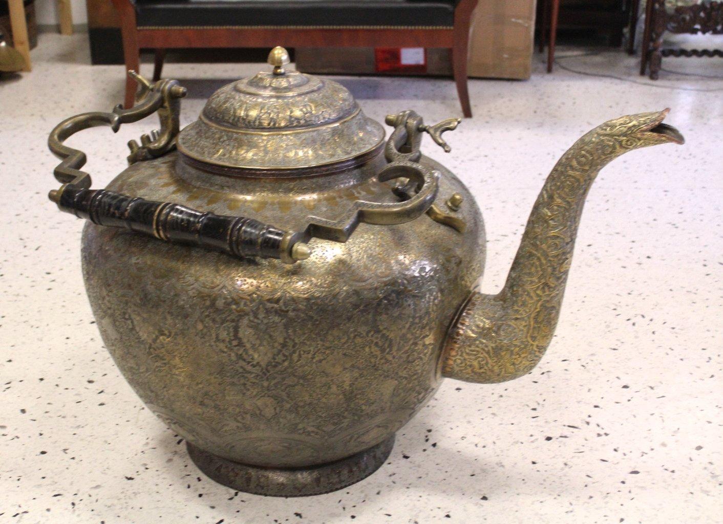Antiker Riesiger Teekessel und Tablett, Persien um 1970-5