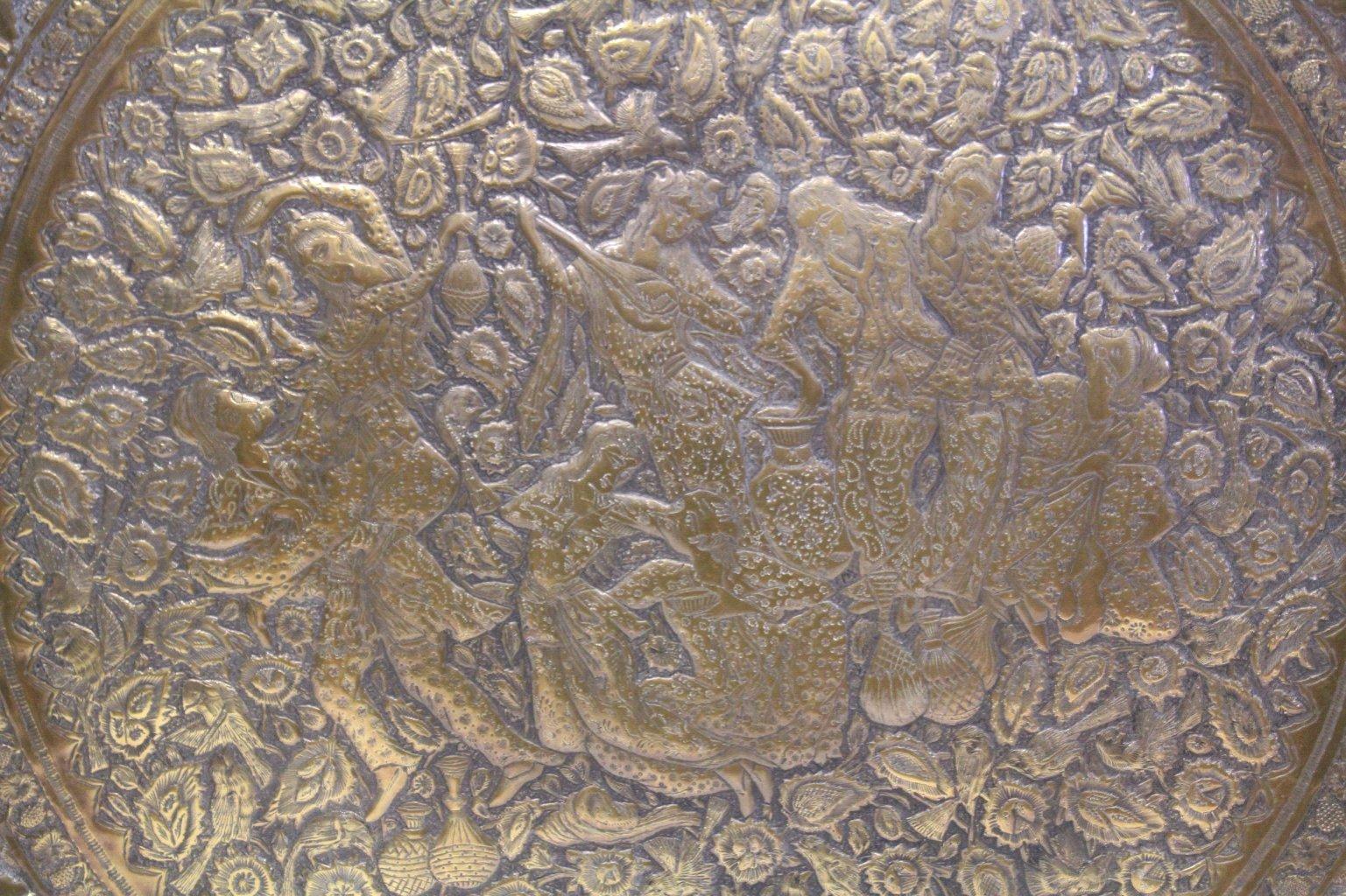 Antiker Riesiger Teekessel und Tablett, Persien um 1970-17