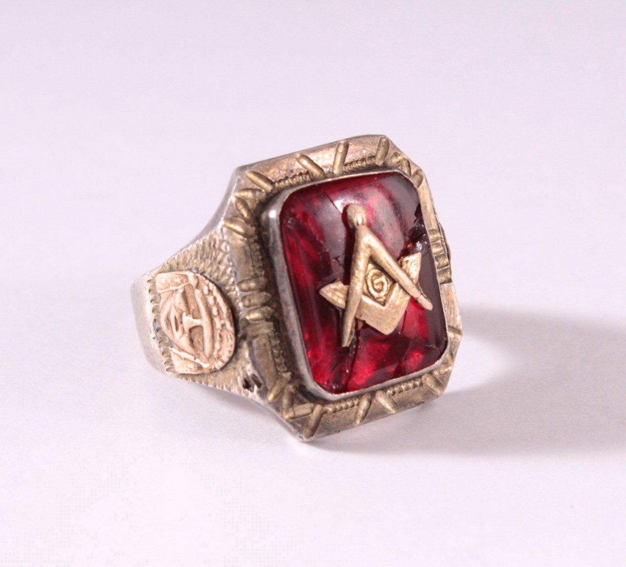 Antiker Freimaurer Ring, 925er Silber