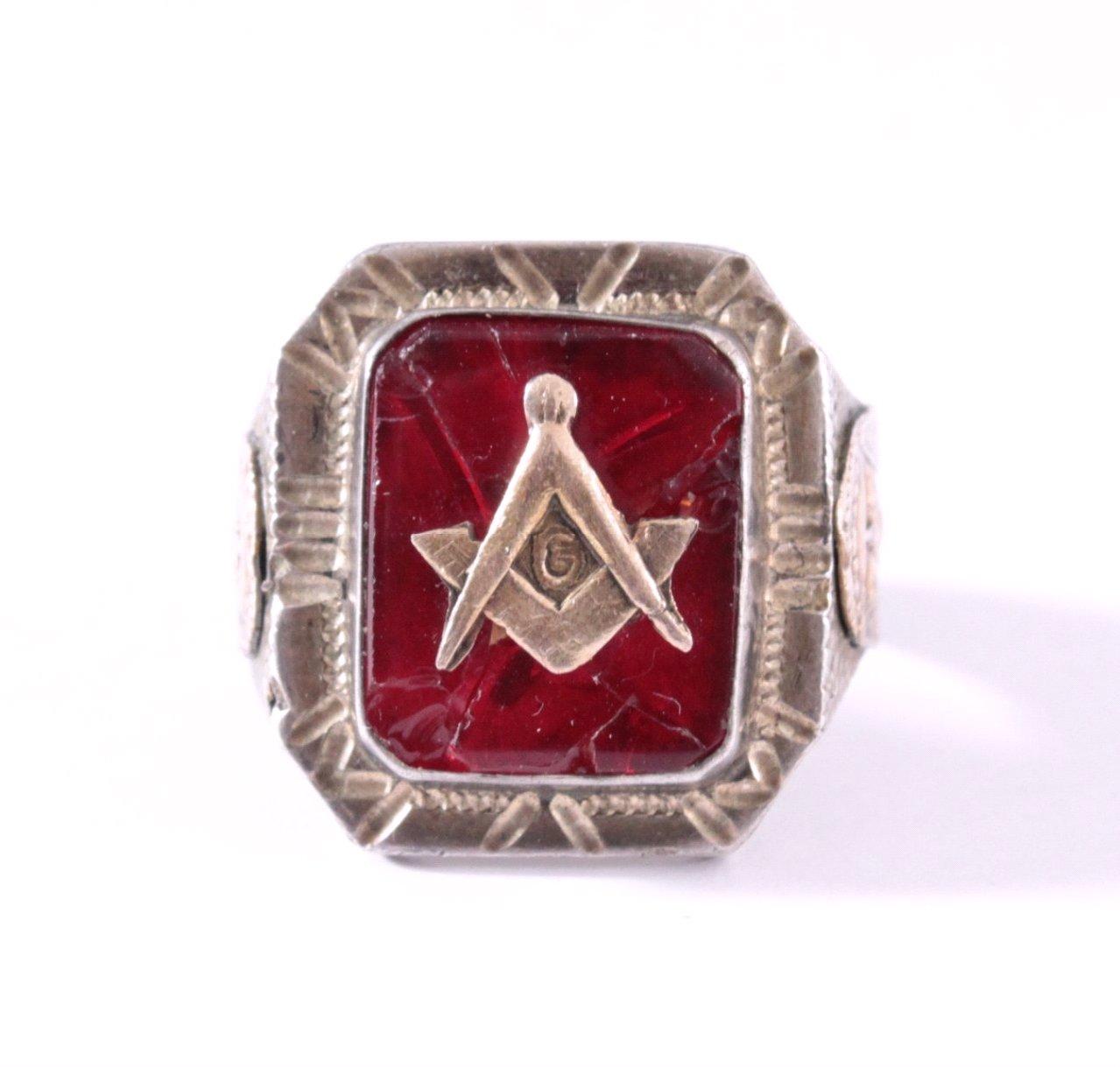 Antiker Freimaurer Ring, 925er Silber-1