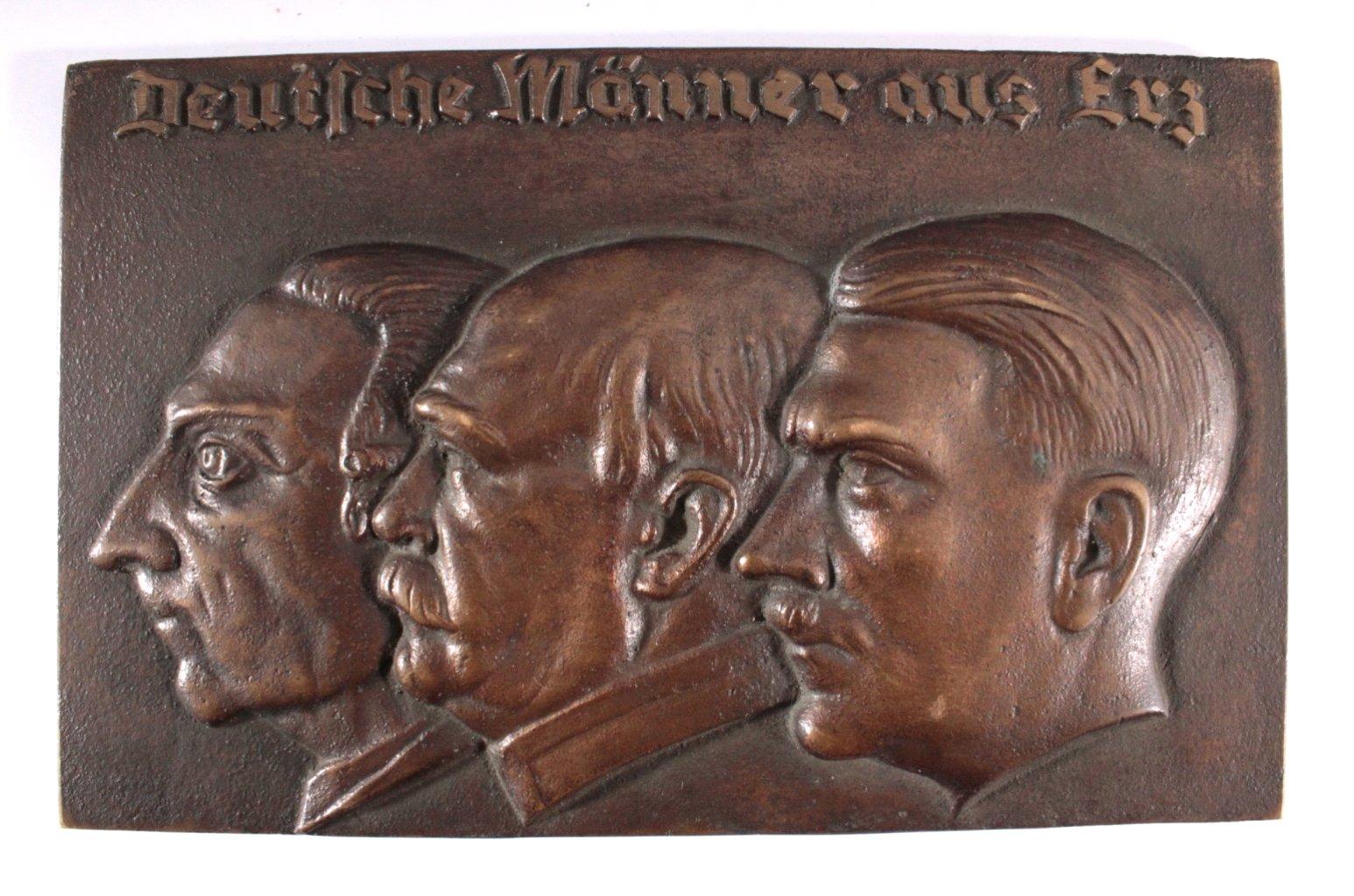 """Große Bronzeplakette """"Deutsche Männer aus Erz"""""""