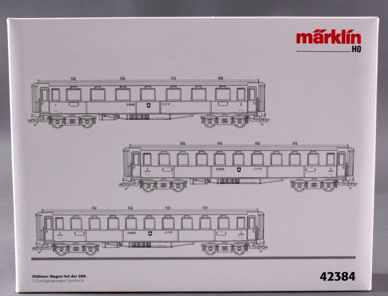 MÄRKLIN H0 42384 Oldtimer Wagen-Set der SBB-2