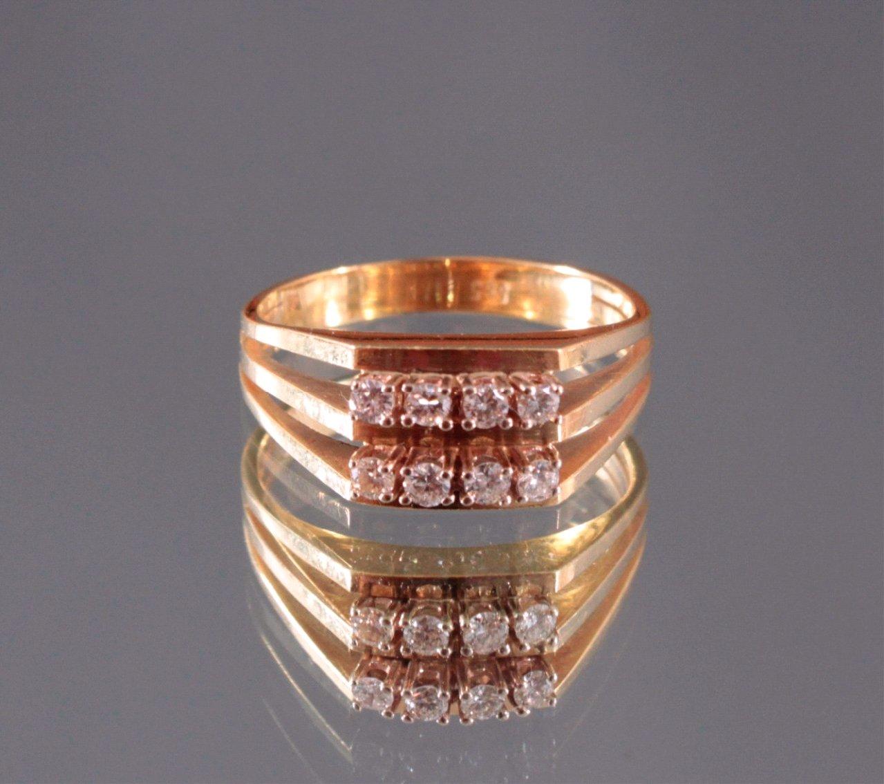 Damenring mit 6 Diamanten, 585/000 Gelb Gold