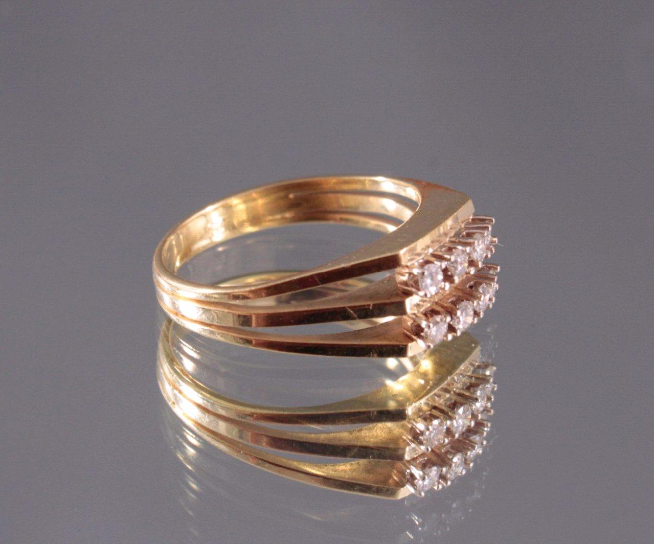 Damenring mit 6 Diamanten, 585/000 Gelb Gold-1