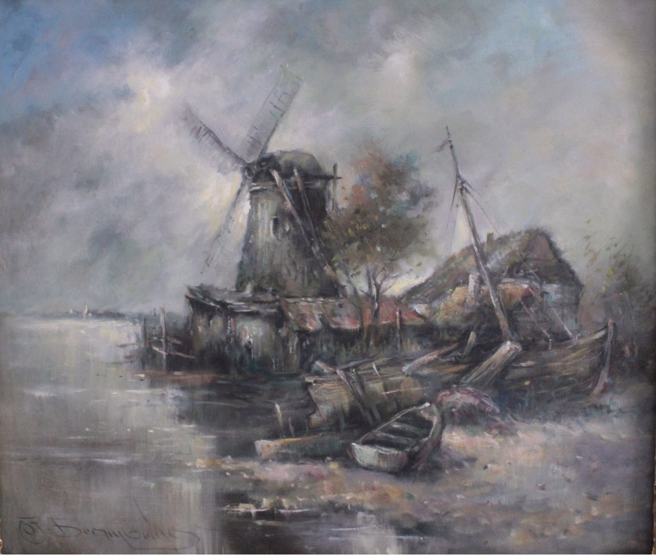 """""""Seelandschaft mit Windmühle und Segelbooten""""-1"""