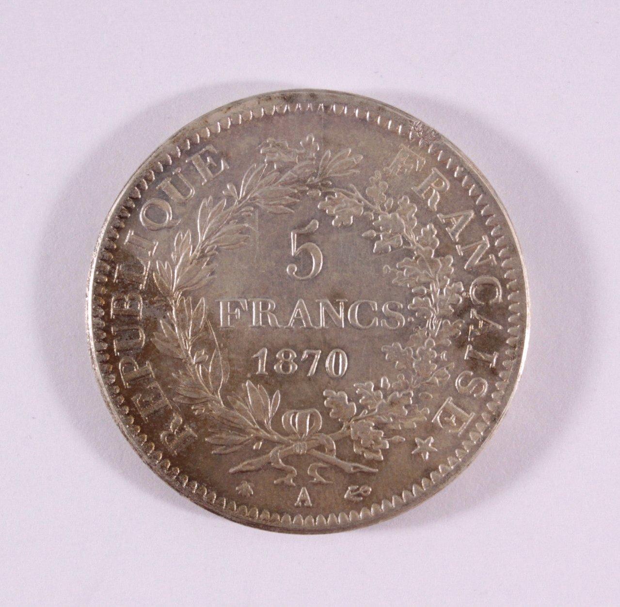 Frankreich, 5 Frances 1870, Napoleon III-1