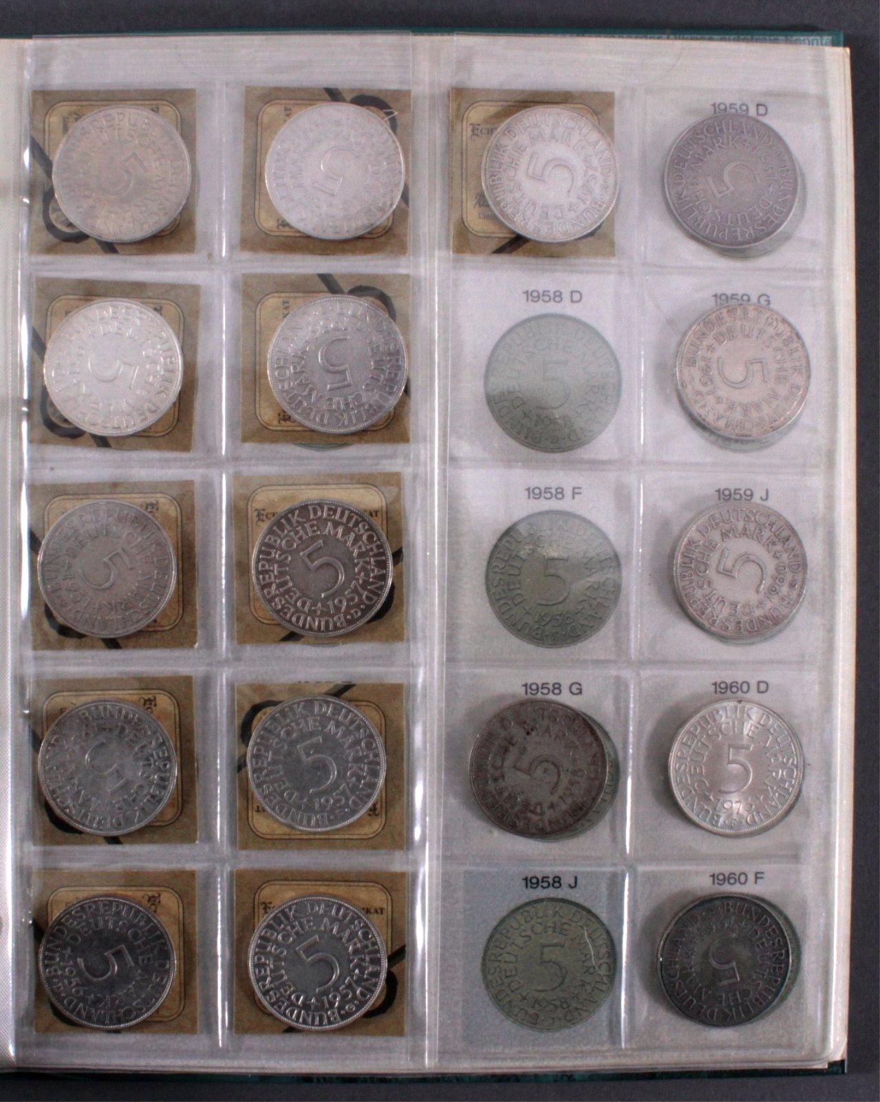 Sammlung 5 DM Silberadler mit Sammelordner, 1951-1974