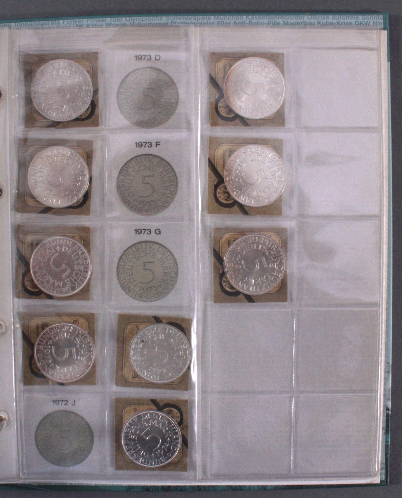 Sammlung 5 DM Silberadler mit Sammelordner, 1951-1974-3