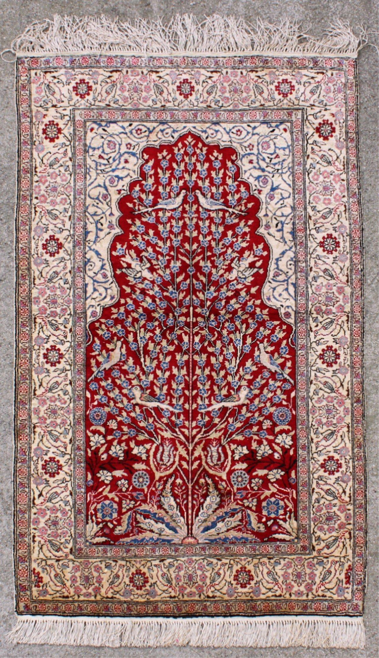 Kayseri Seidenteppich mit Lebensbaum