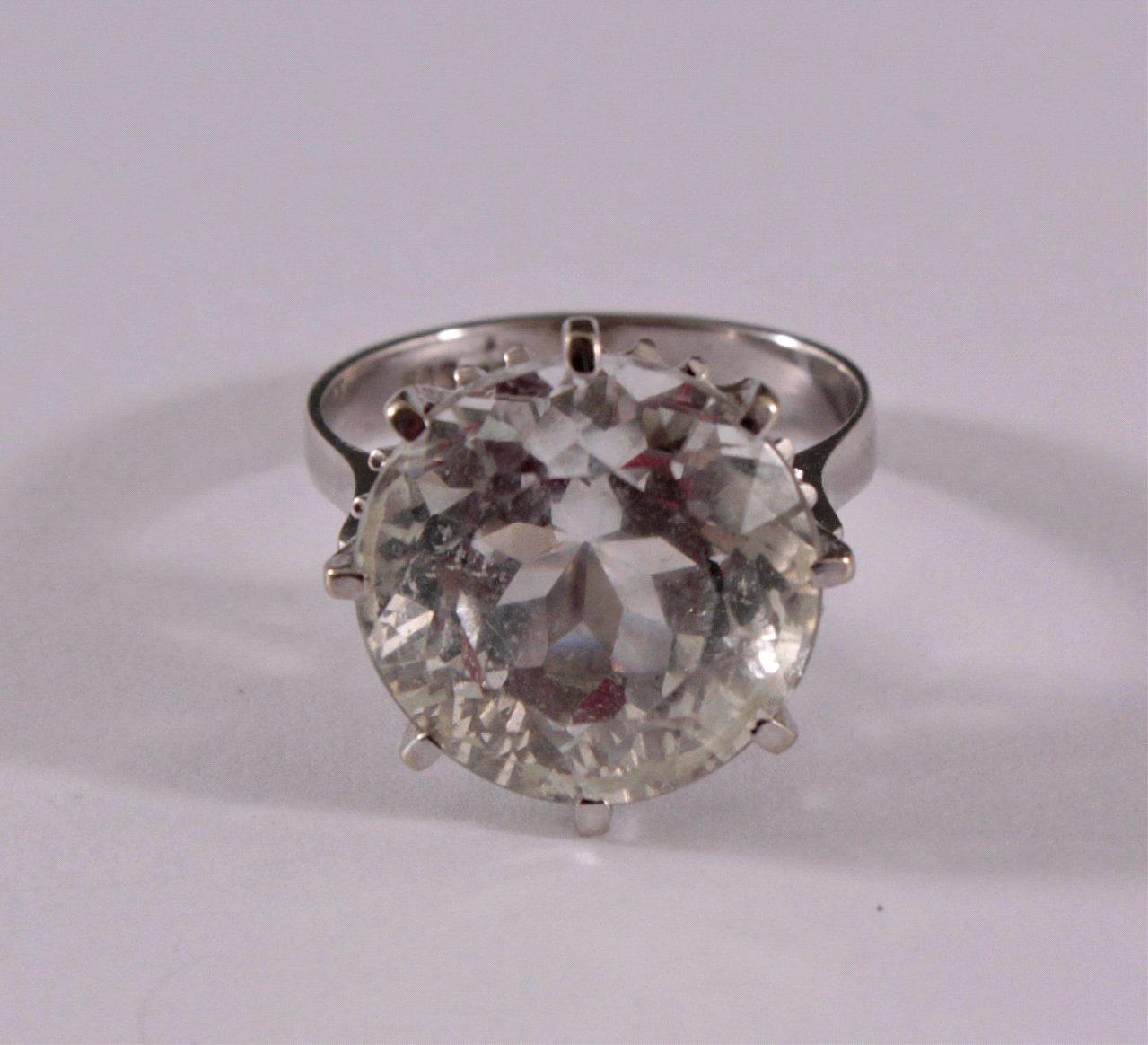 Damenring mit Kristall, 585/000 WG-1