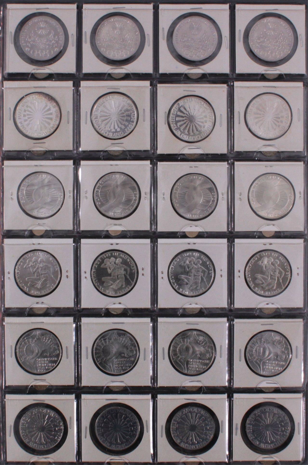 Komplette Sammlung 10 DM Münzen Olympia 1972