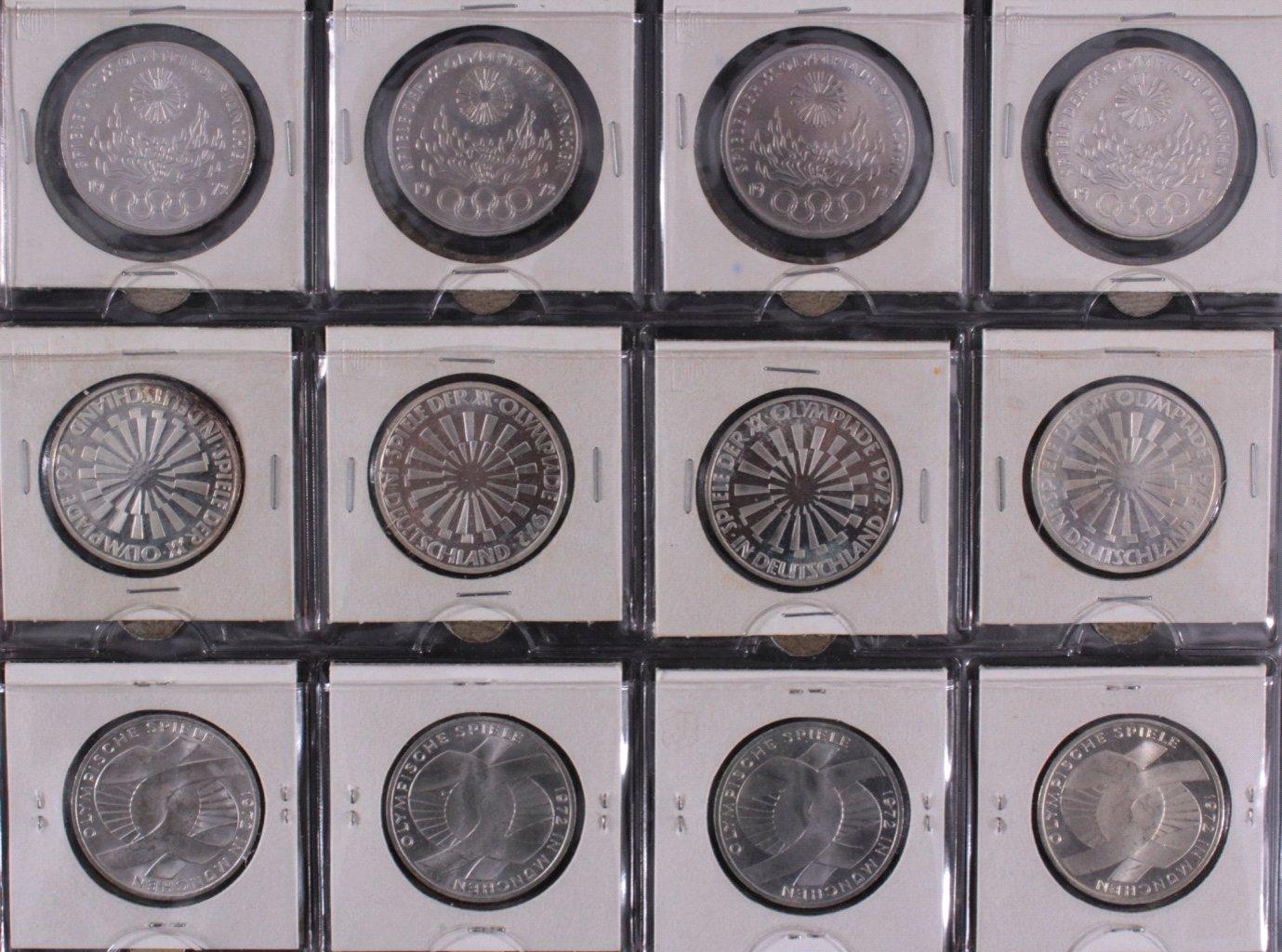 Komplette Sammlung 10 DM Münzen Olympia 1972-1