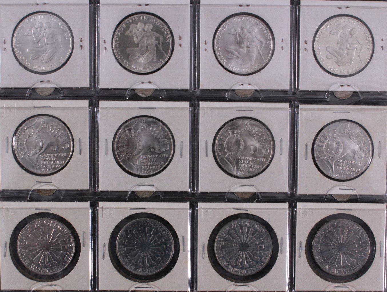 Komplette Sammlung 10 DM Münzen Olympia 1972-2