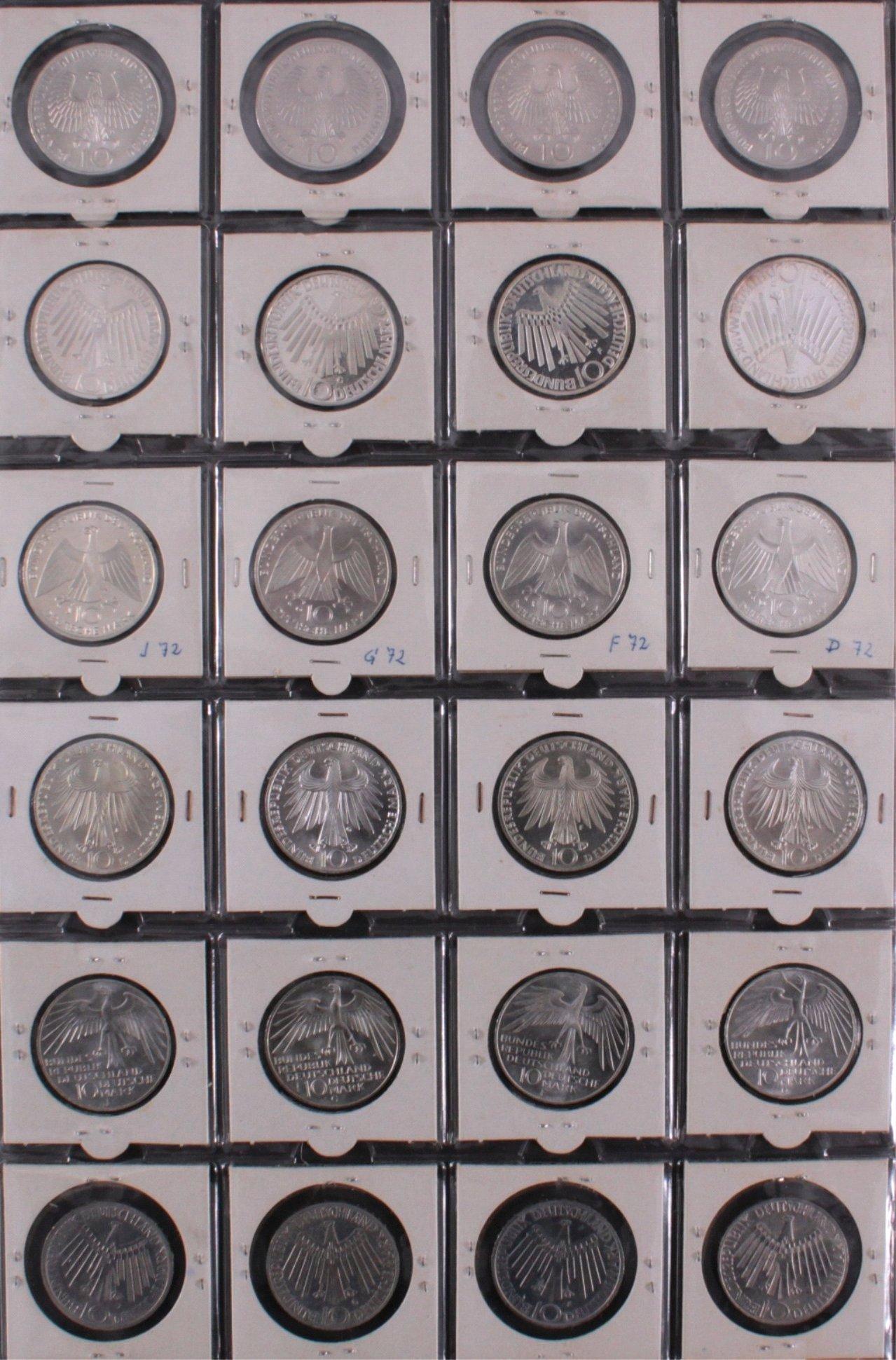 Komplette Sammlung 10 DM Münzen Olympia 1972-3