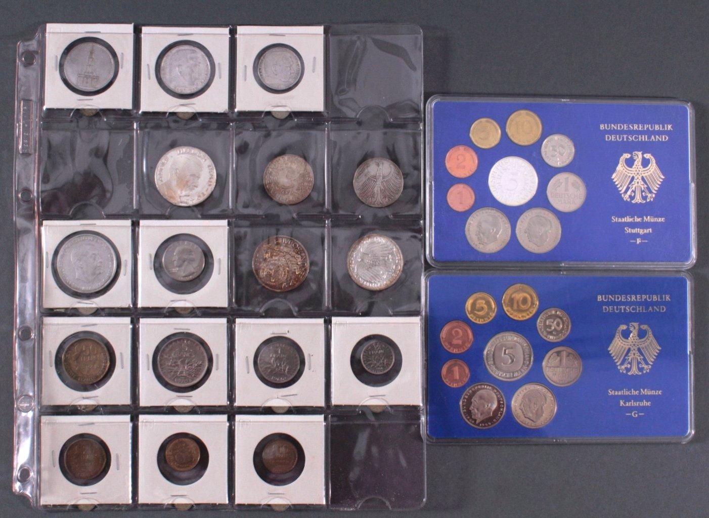 Kleines Konvolut Münzen, Deutsches Reich, BRD, Frankreich…