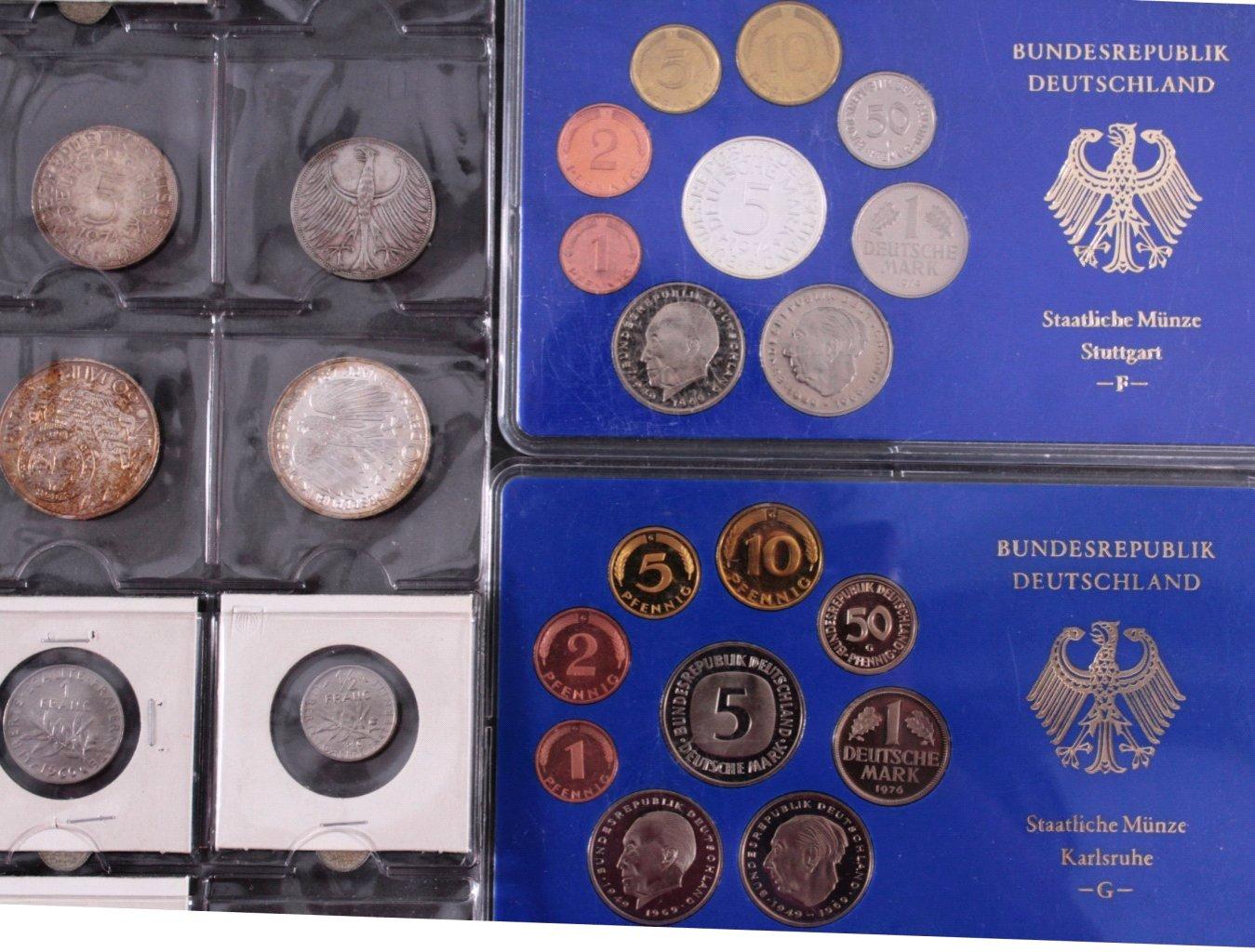 Kleines Konvolut Münzen, Deutsches Reich, BRD, Frankreich…-2