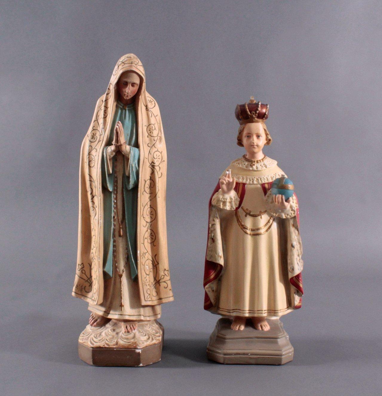 Zwei Heiligenfiguren, Lourdes-Madonna und Prager Jesuskind