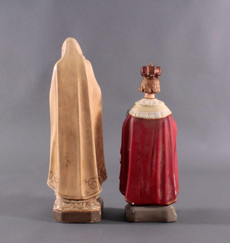 Zwei Heiligenfiguren, Lourdes-Madonna und Prager Jesuskind-2