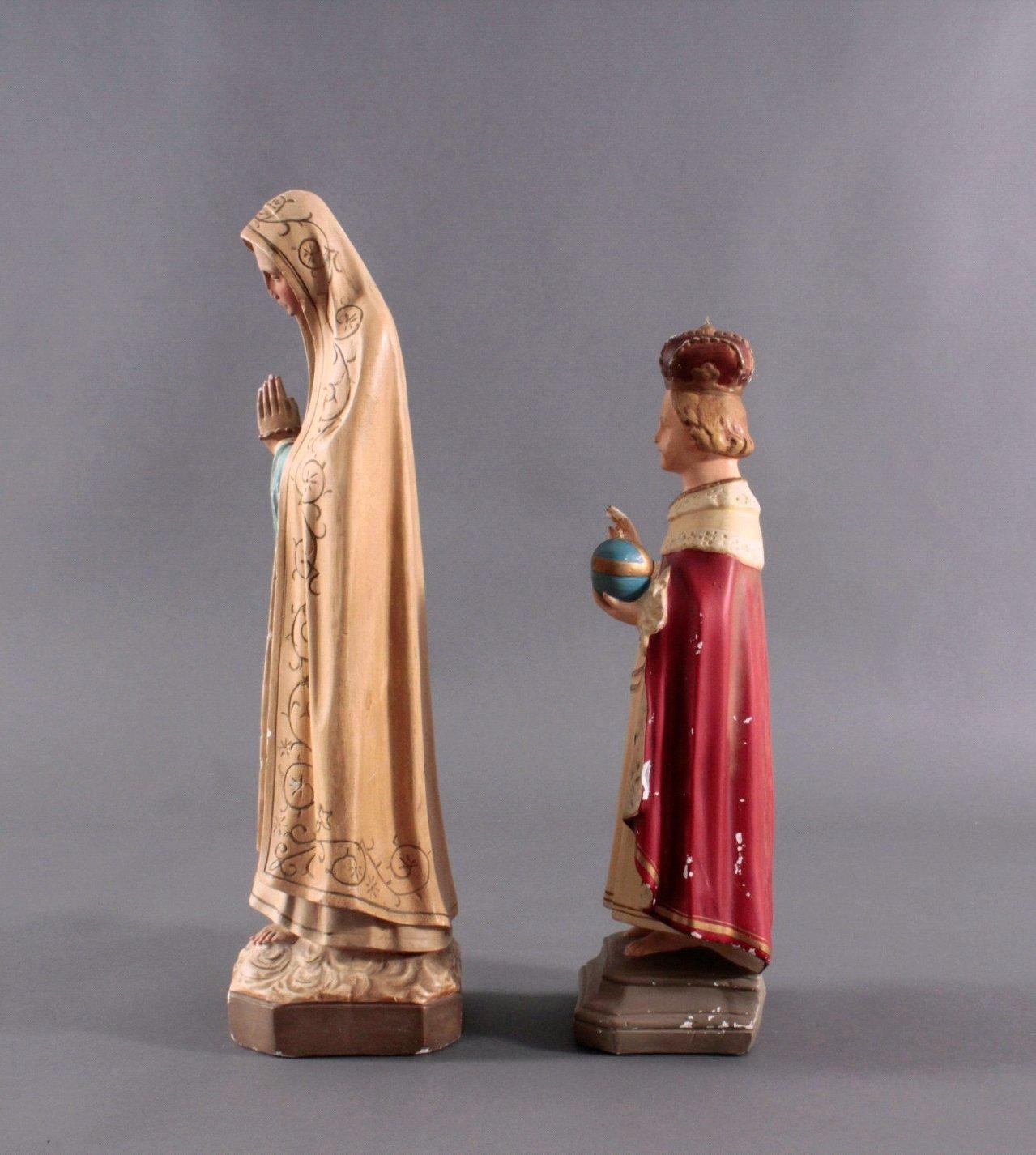 Zwei Heiligenfiguren, Lourdes-Madonna und Prager Jesuskind-3
