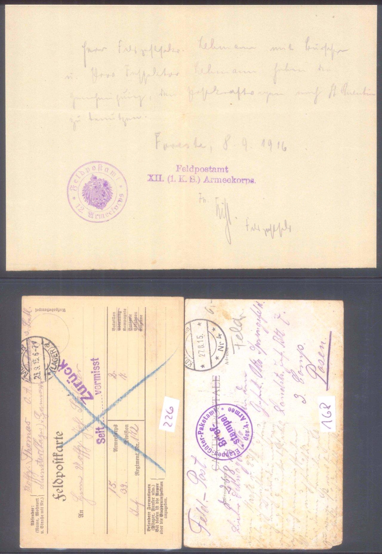 Sammlungsauflösung, Feldpost des ersten Weltkrieges