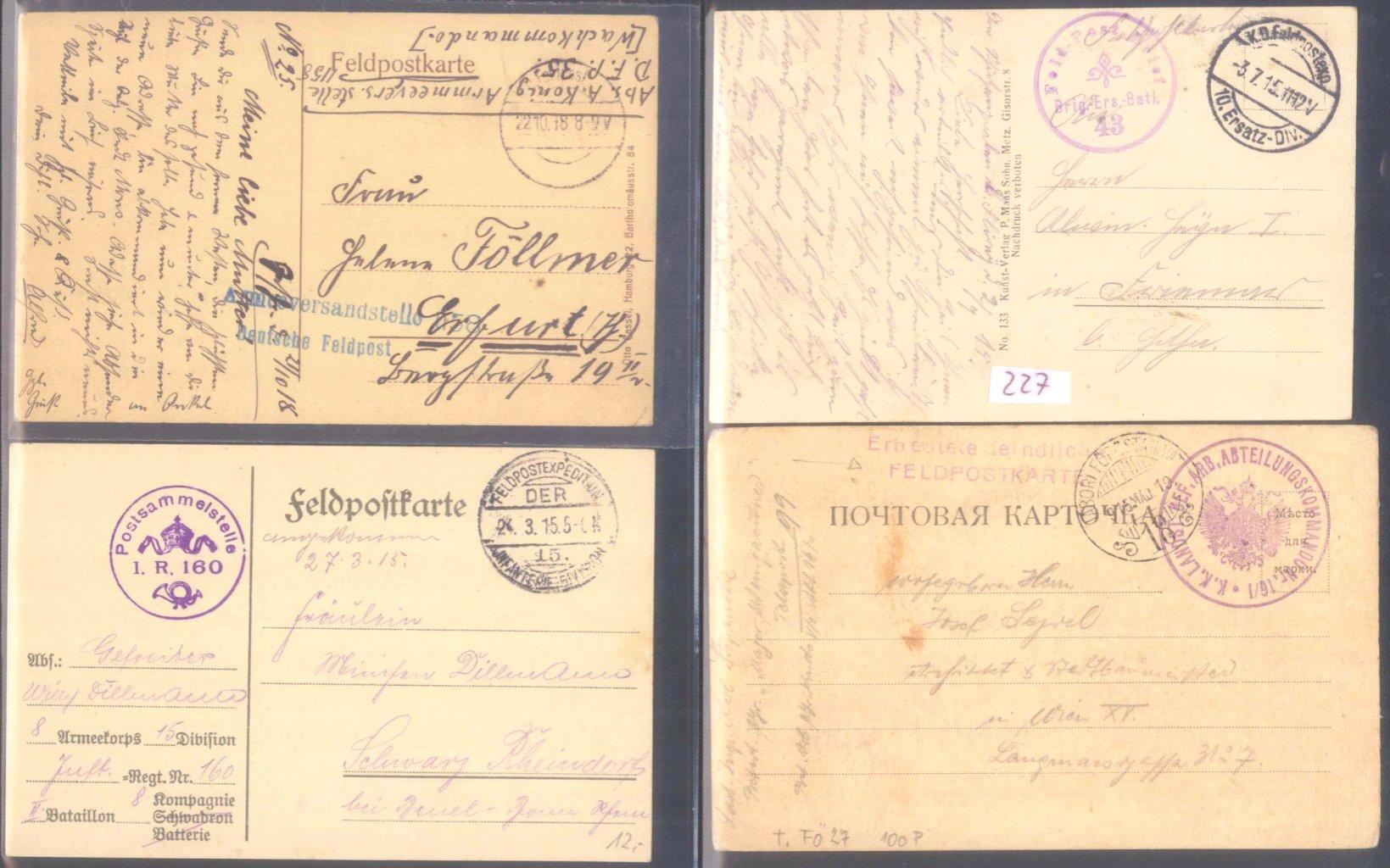 Sammlungsauflösung, Feldpost des ersten Weltkrieges-2
