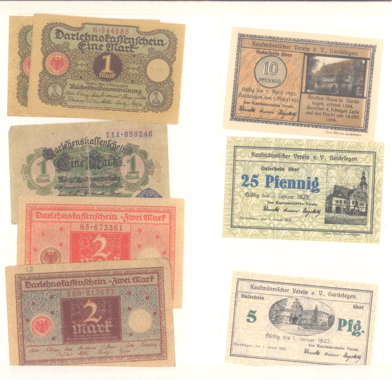 Banknoten, Notgeld, Belege