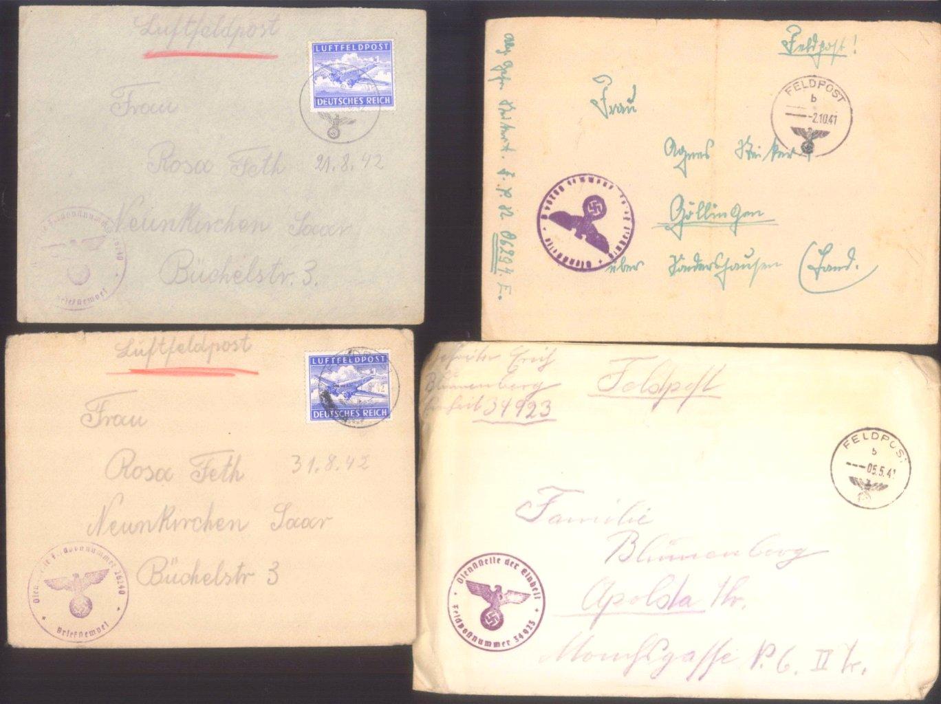 Ca. 70 Belege Feldpost und Kriegsgefangenenpost WK II