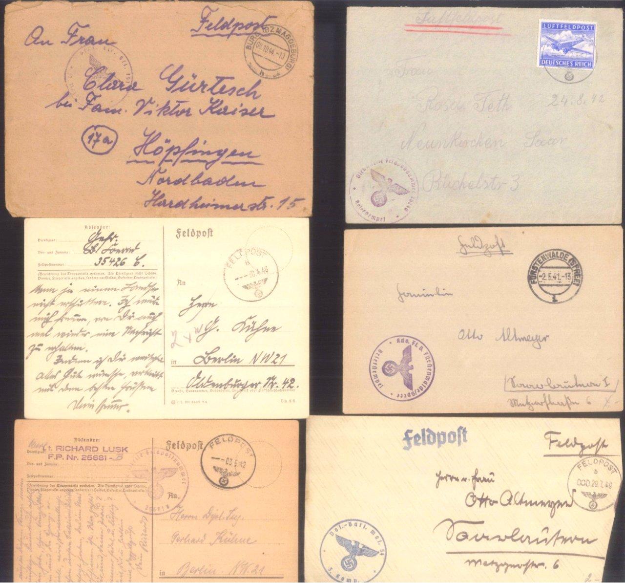 Ca. 70 Belege Feldpost und Kriegsgefangenenpost WK II-2