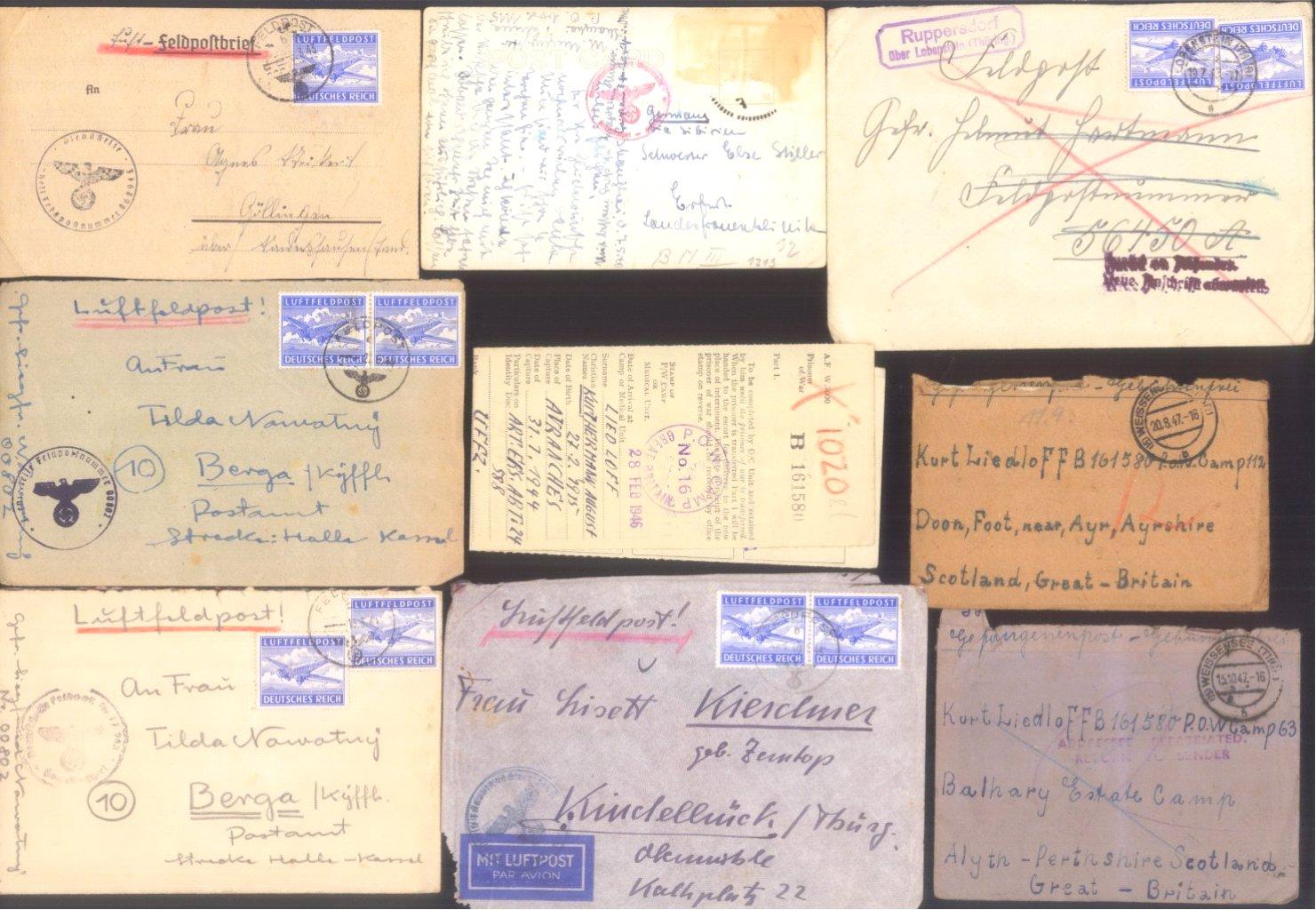 Ca. 70 Belege Feldpost und Kriegsgefangenenpost WK II-10