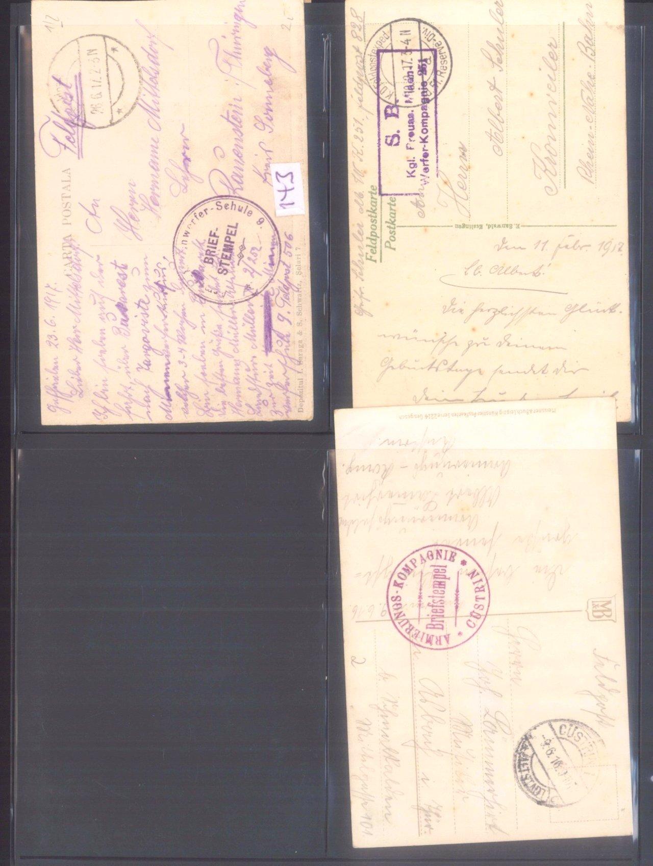 Sammlung Feldpostbelege und Feldpoststempel des WK I