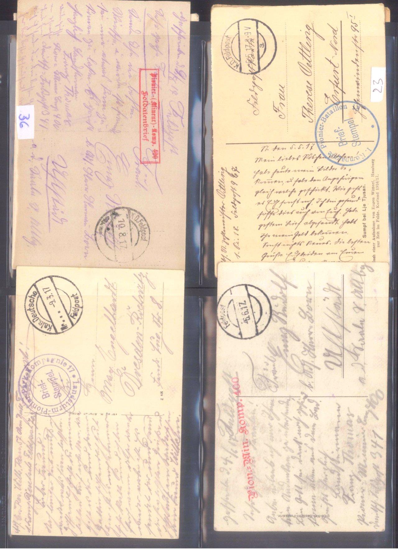 Sammlung Feldpostbelege und Feldpoststempel des WK I-1