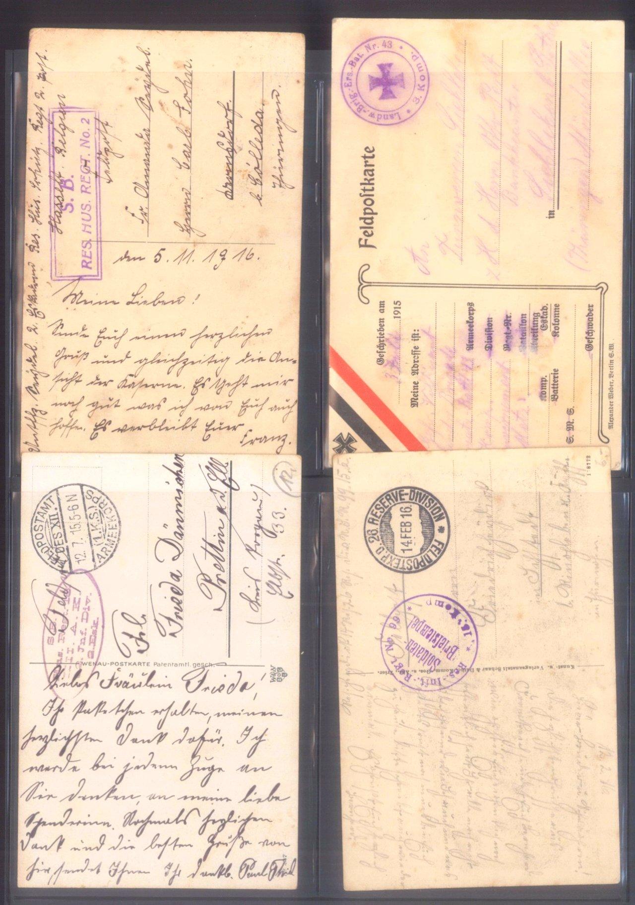 Sammlung Feldpostbelege und Feldpoststempel des WK I-2