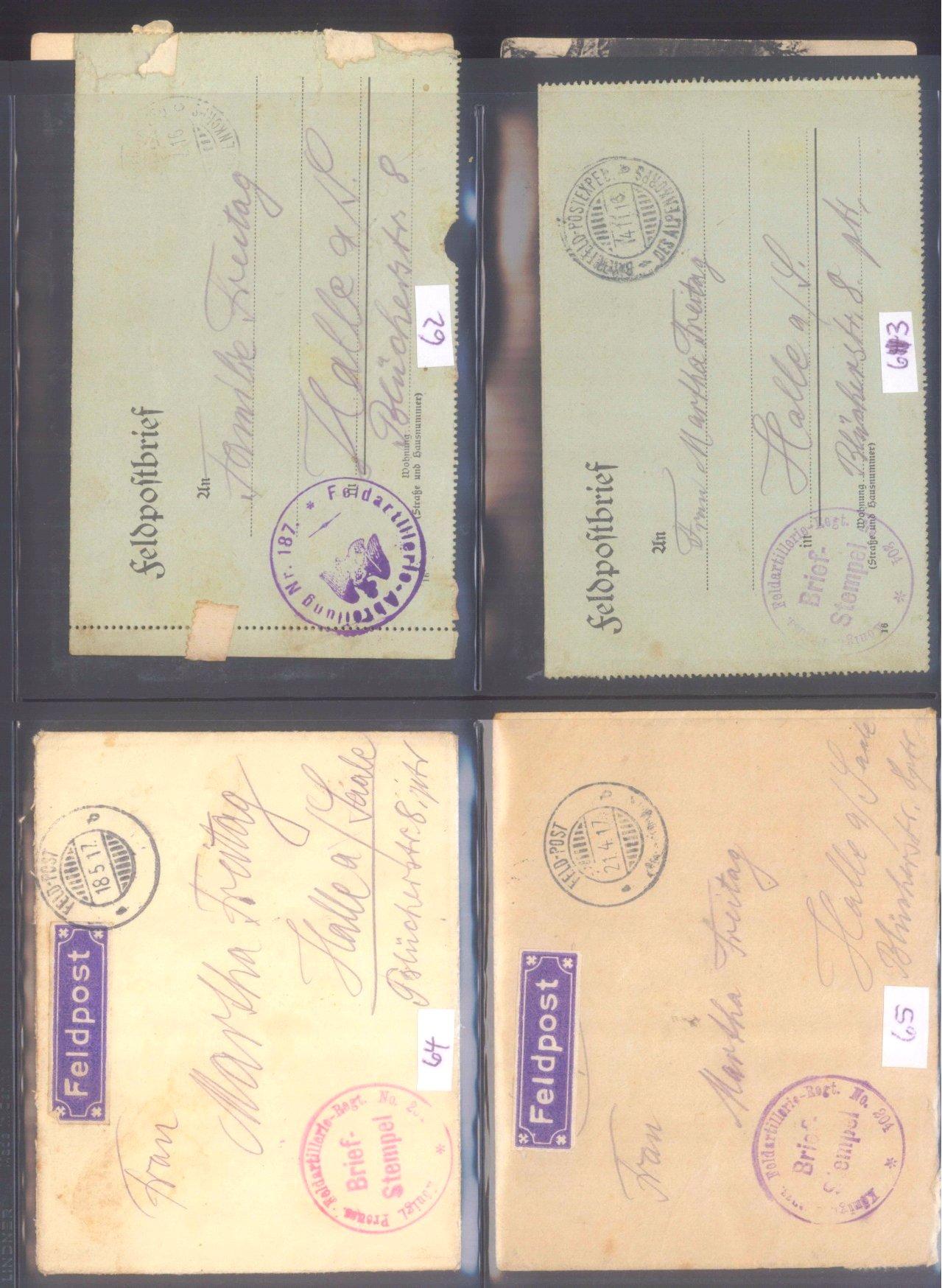 Sammlung Feldpostbelege und Feldpoststempel des WK I-3