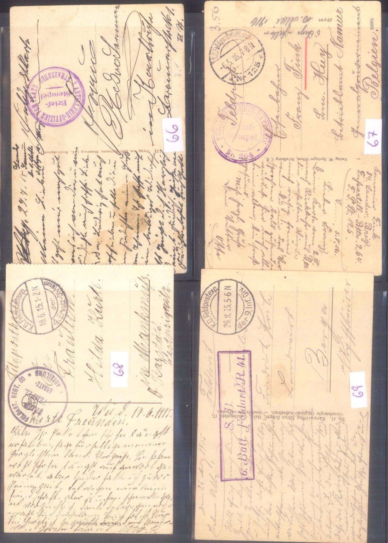 Sammlung Feldpostbelege und Feldpoststempel des WK I-4
