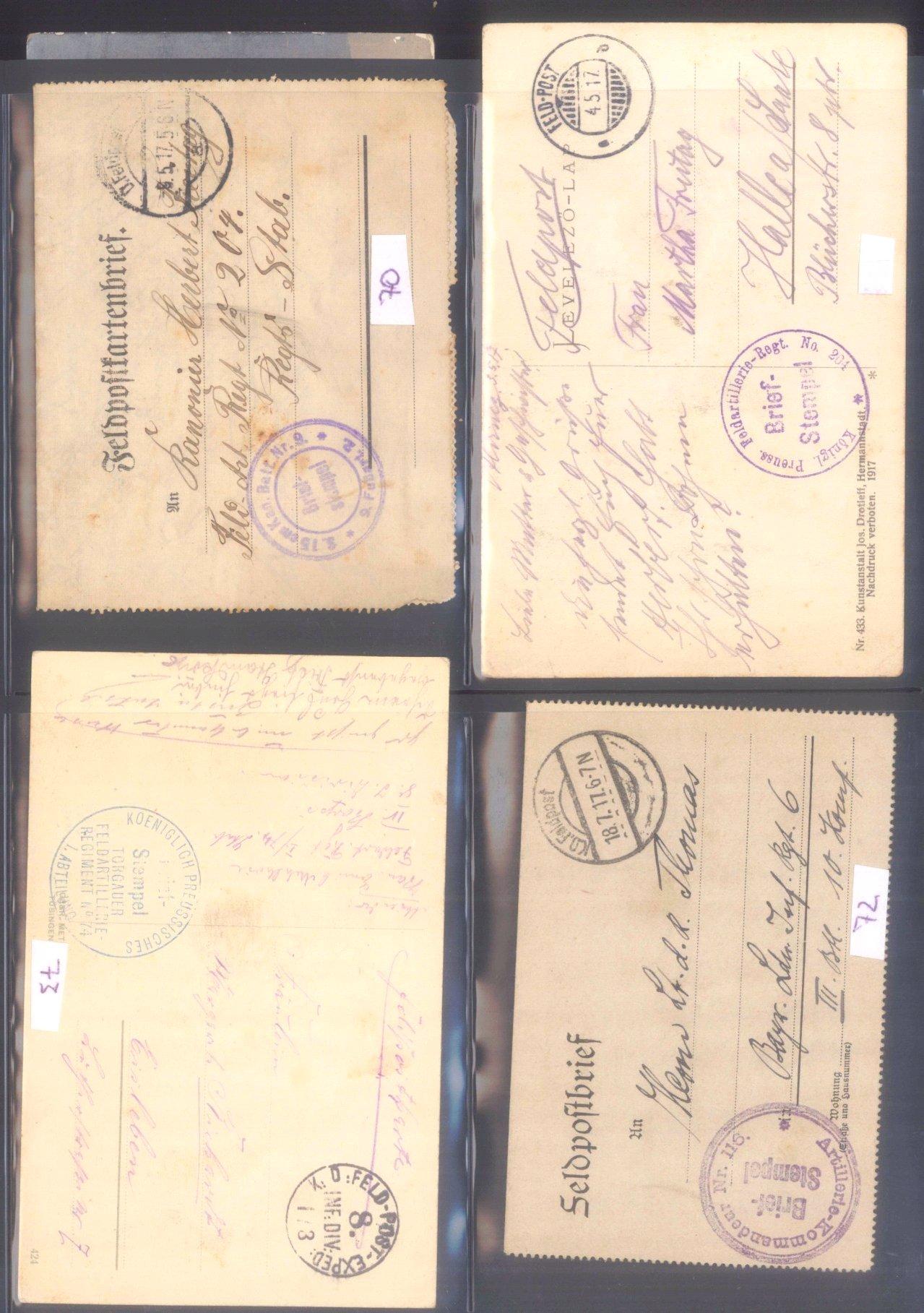 Sammlung Feldpostbelege und Feldpoststempel des WK I-6