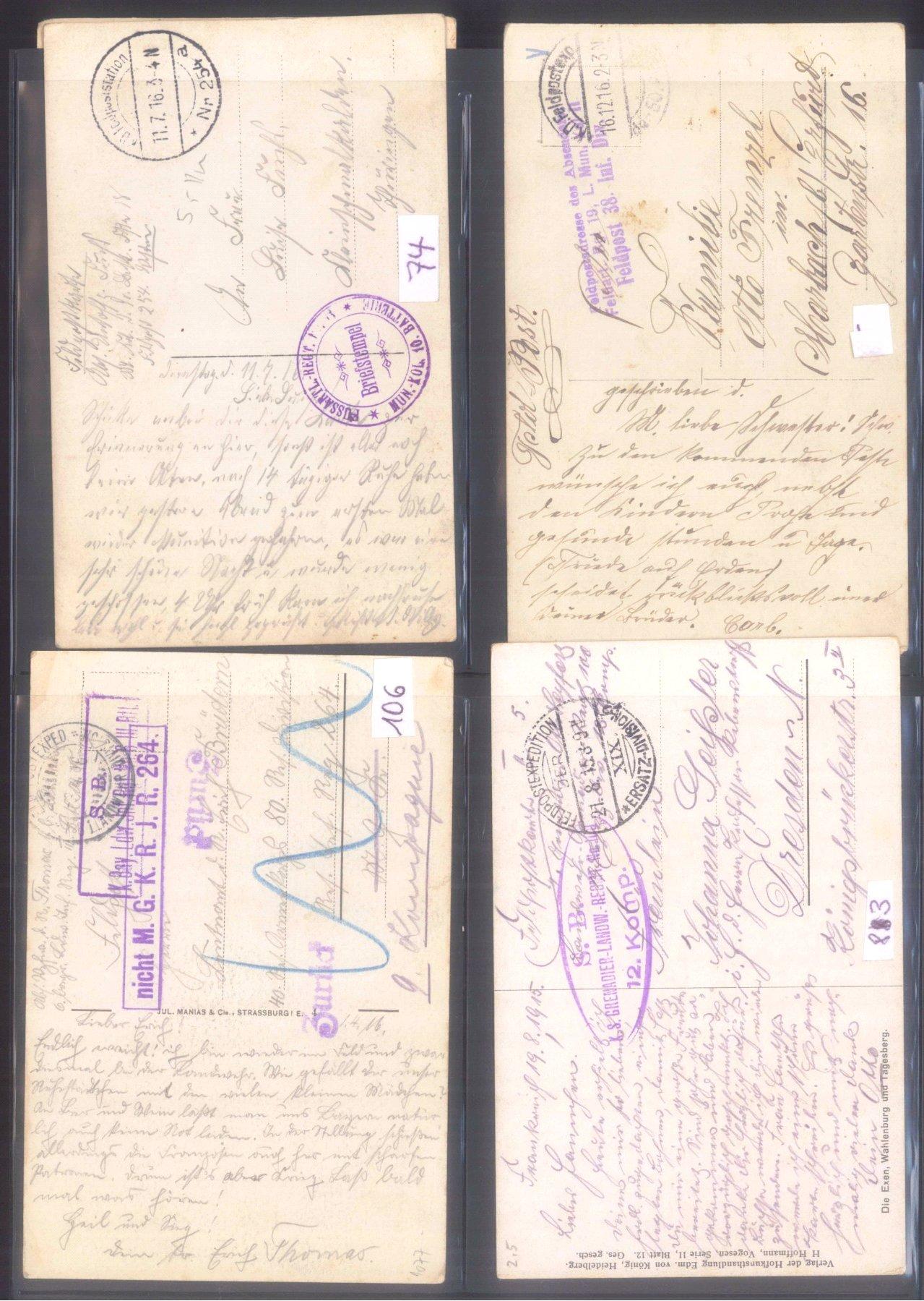 Sammlung Feldpostbelege und Feldpoststempel des WK I-7