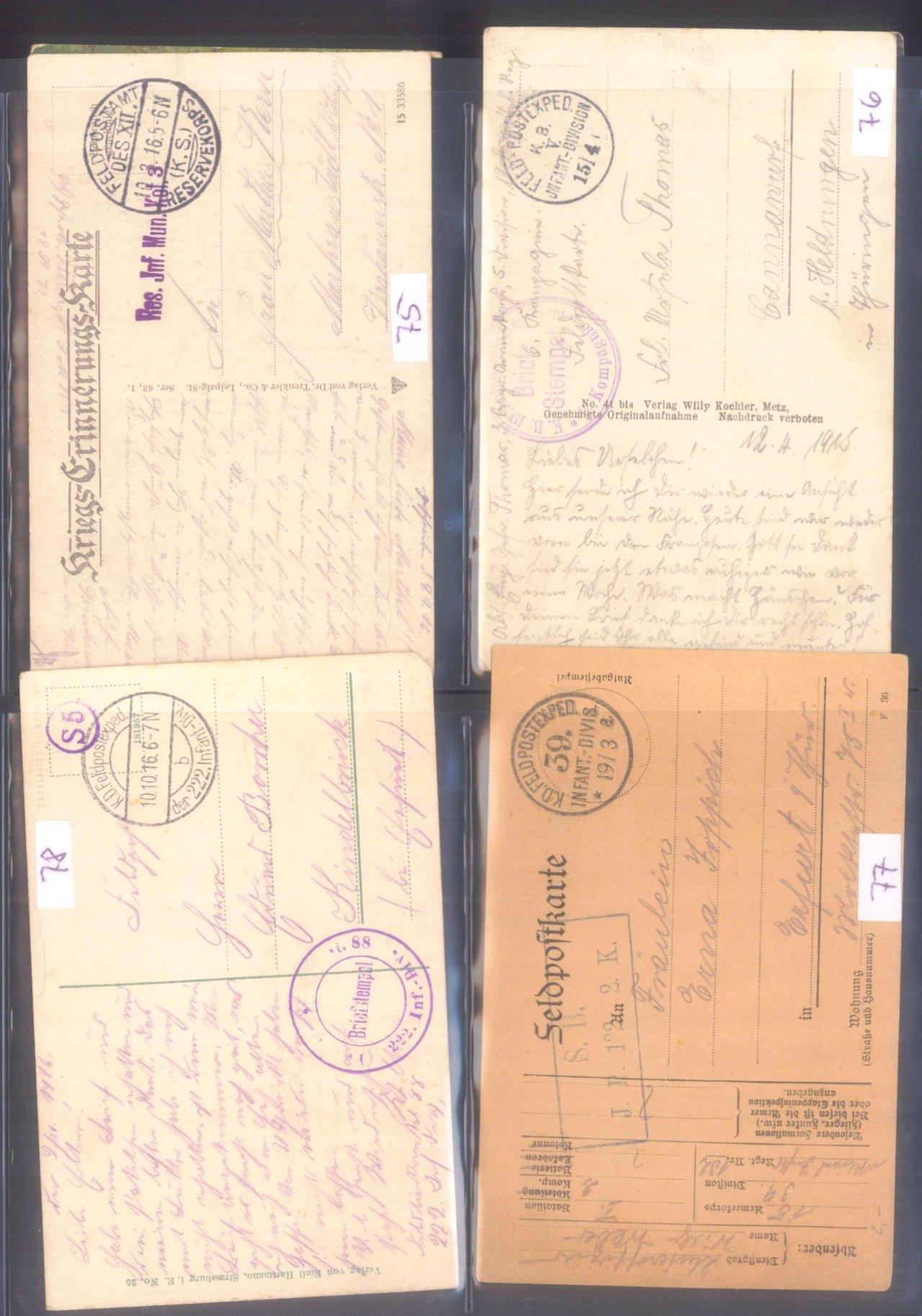 Sammlung Feldpostbelege und Feldpoststempel des WK I-8