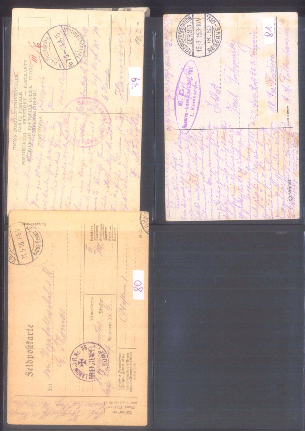 Sammlung Feldpostbelege und Feldpoststempel des WK I-9