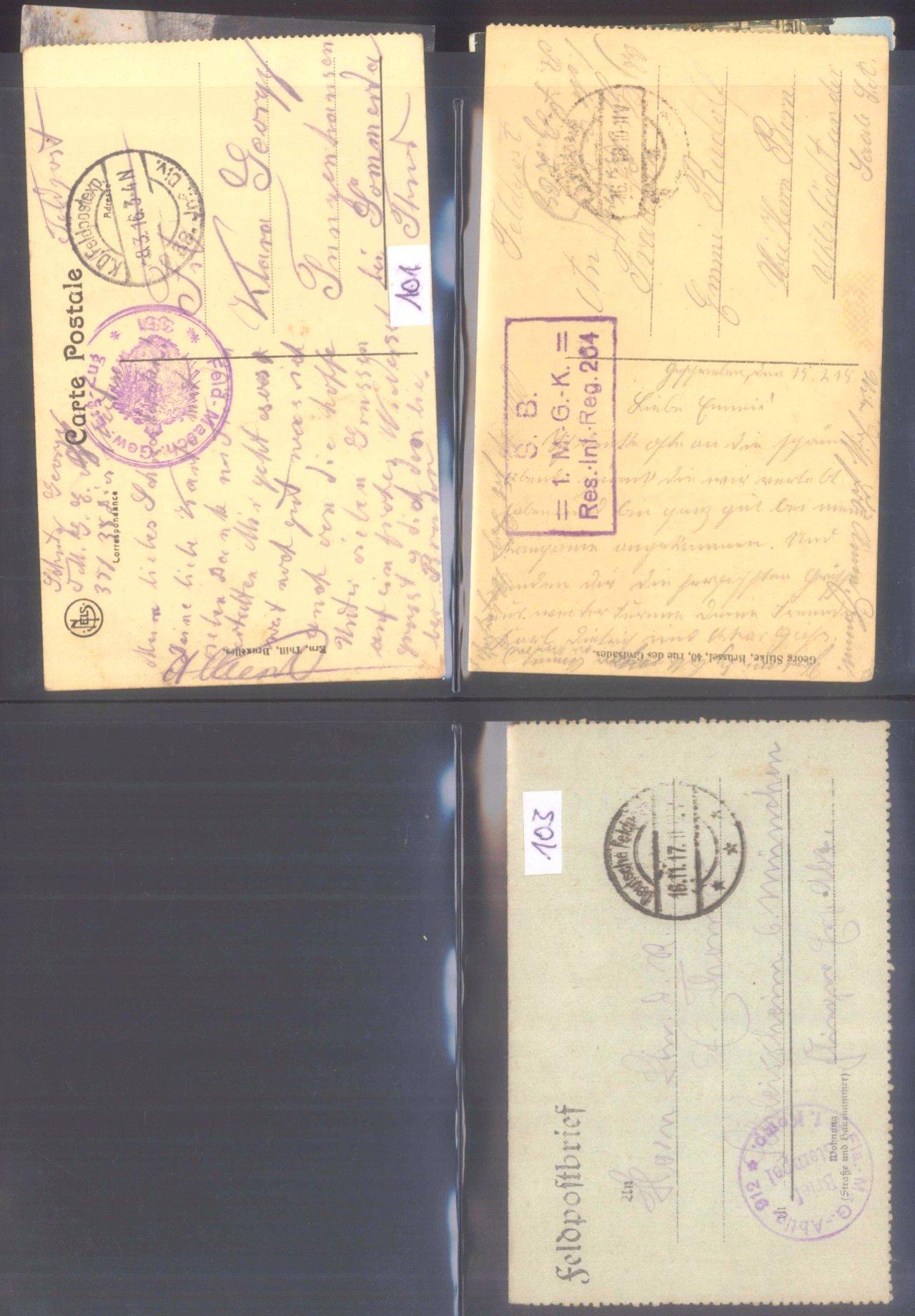 Sammlung Feldpostbelege und Feldpoststempel des WK I-10