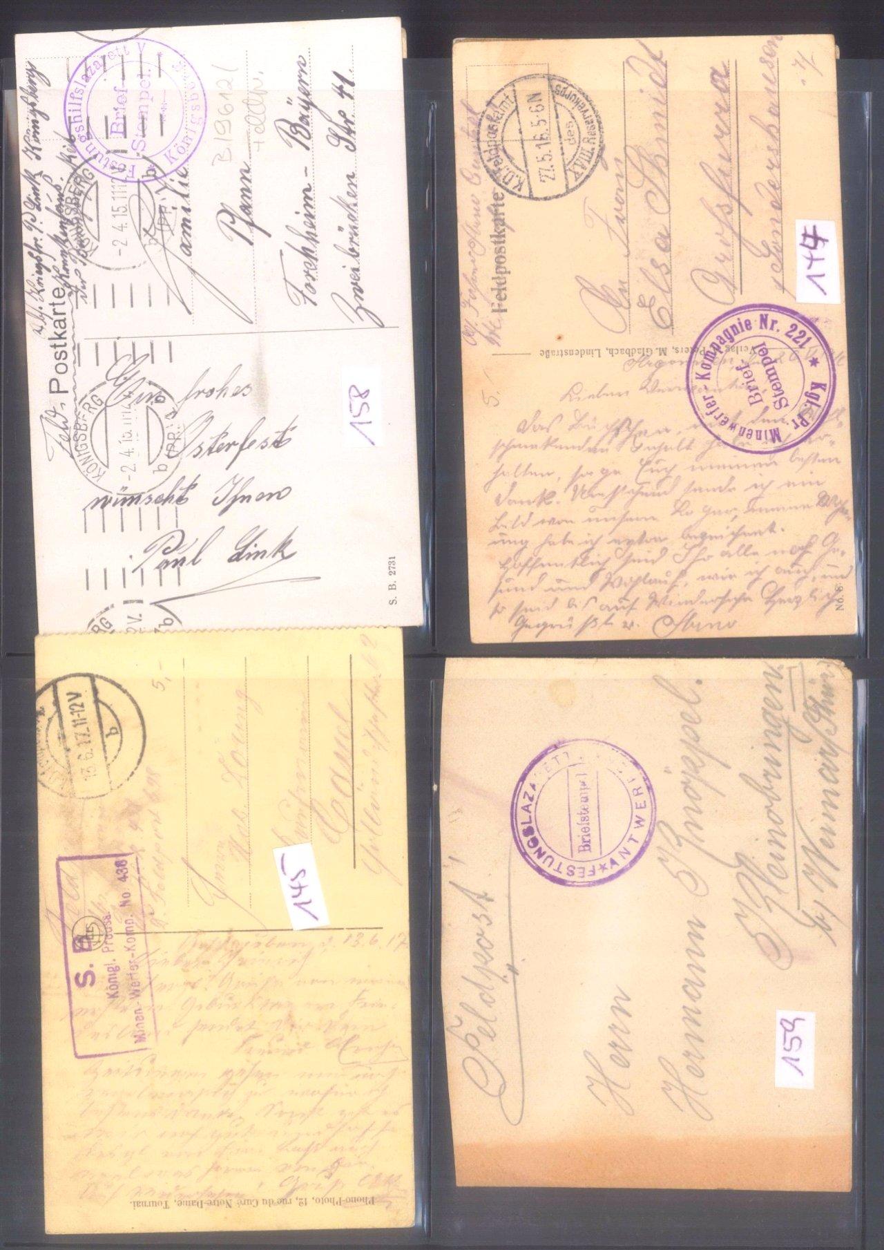 Sammlung Feldpostbelege und Feldpoststempel des WK I-11