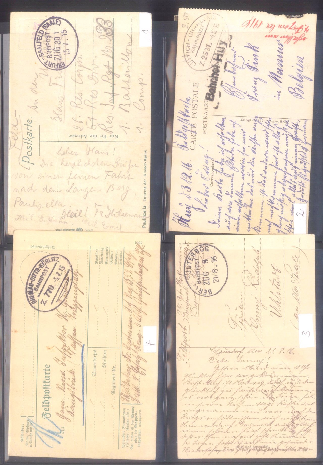 Sammlung Feldpostbelege und Feldpoststempel des WK I-12