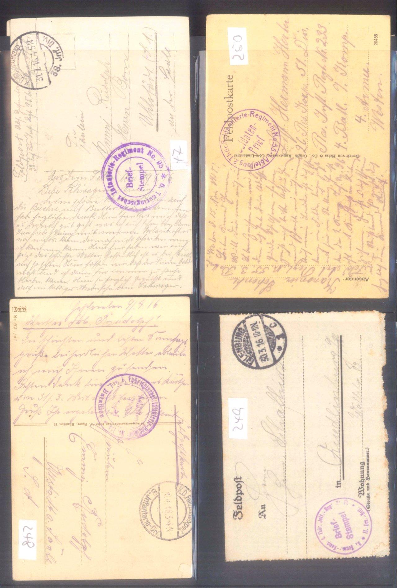 Sammlung Feldpostbelege und Feldpoststempel des WK I-13