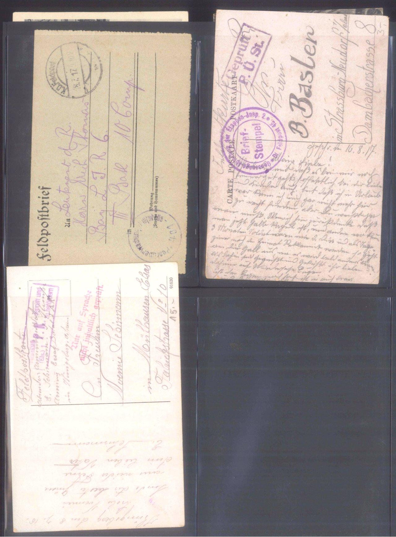 Sammlung Feldpostbelege und Feldpoststempel des WK I-15